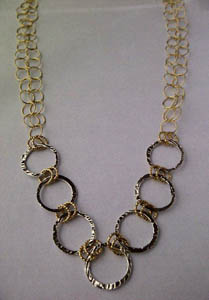 Circle Necklace 2, with gold chain